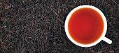 Cup of black tea on the leaves, panorama
