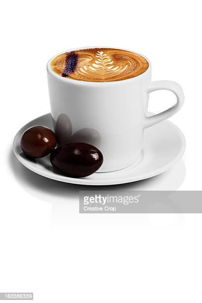 A cup of cappuccino coffee with chocolate