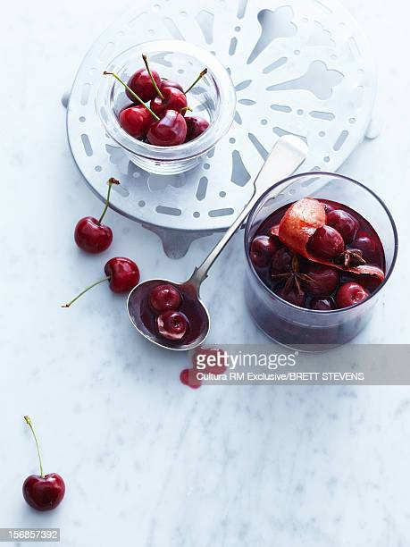 Cup of cherries in syrup