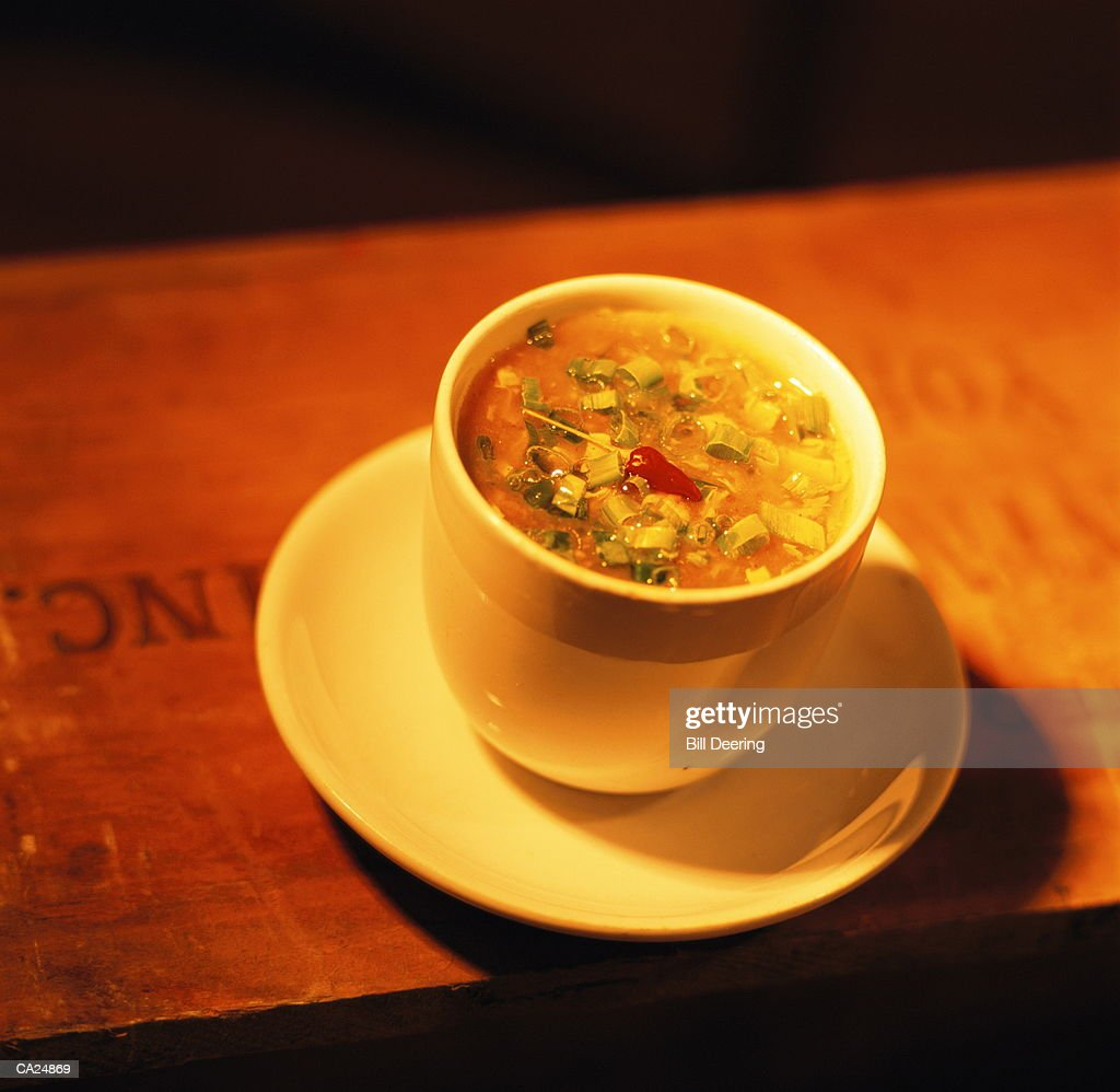 Cup of Chinese soup : Stock Photo