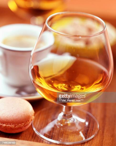 Cup of coffe and glass of digestif