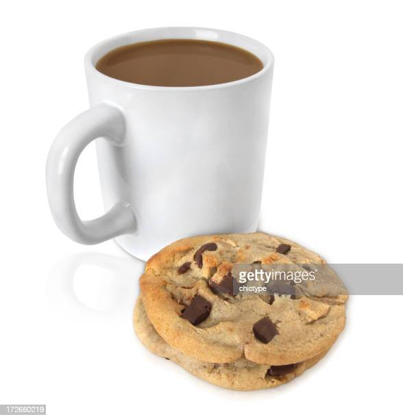 A cup of coffee and a chocolate cookie isolated on white