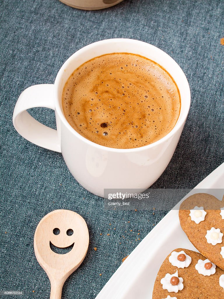 Cup of coffee and heart shaped cookies : Stock Photo