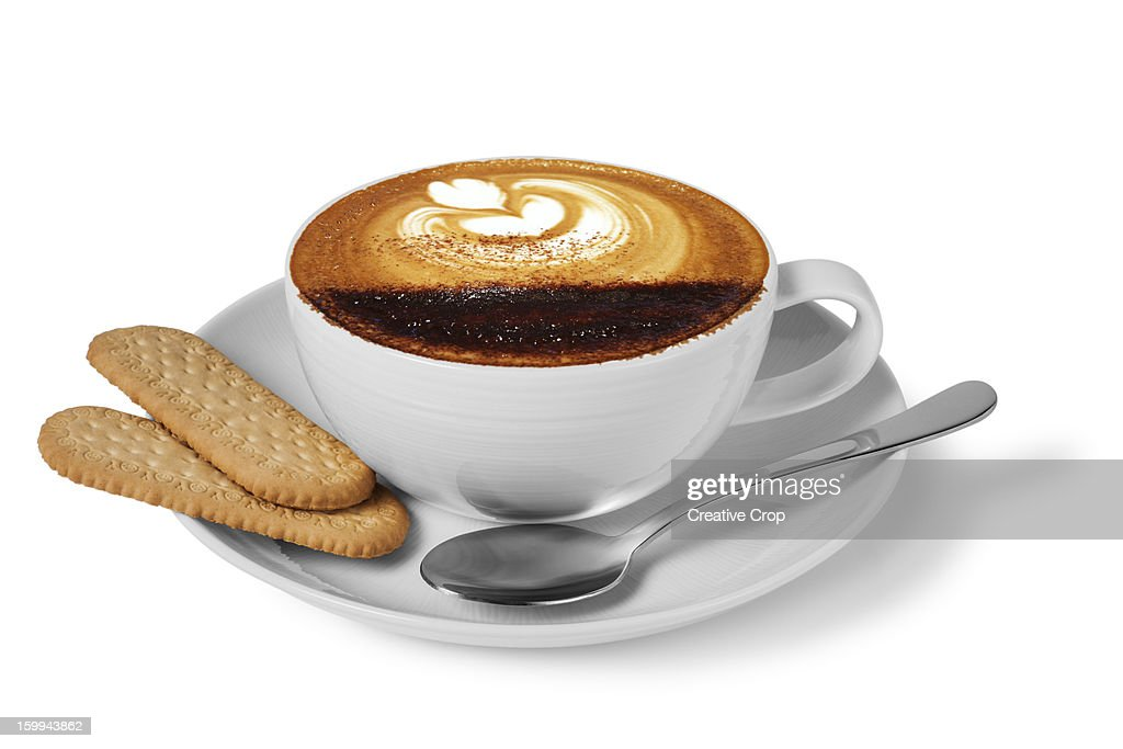 Cup of coffee and spoon with biscuits : Stock Photo