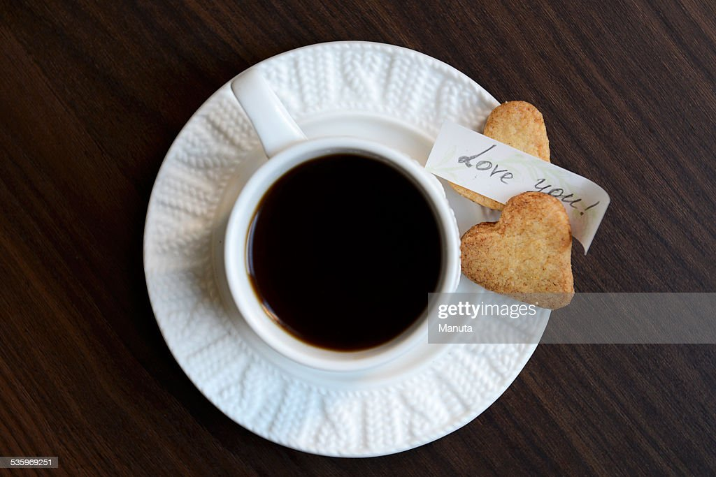 Cup of Coffee, Heart Shaped Cookies and Love You Note : Stock Photo