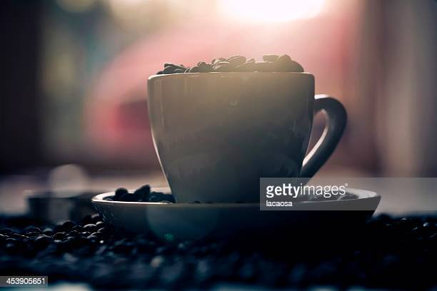 cup of coffee in evening sun