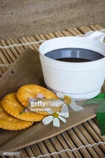 Cup of coffee on a wooden table : Bildbanksbilder
