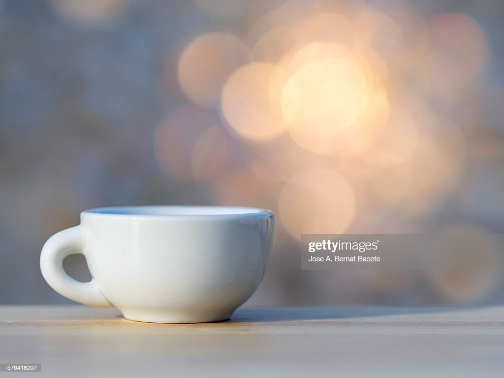 Cup of coffee on a wooden table : Stock-Foto