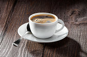 cup of coffee with nice foam close-up,  spoon and white saucer on dark wooden background