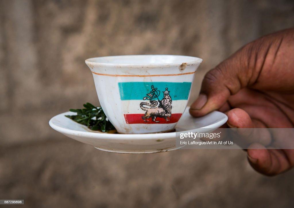 Cup of ethiopian coffee with lion of judah on it oromia metehara Ethiopia on March 3 2016 in Metehara Ethiopia