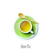 Cup of Green Tea on white background; flatlay, Sencha Green Tea