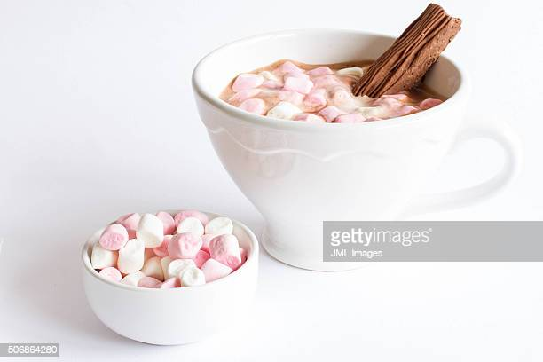 Cup of hot chocolate with marshmallows and chocolate flake