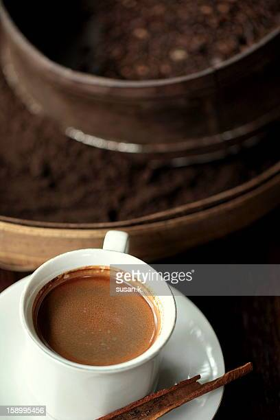 A cup of hot coffee luwak.