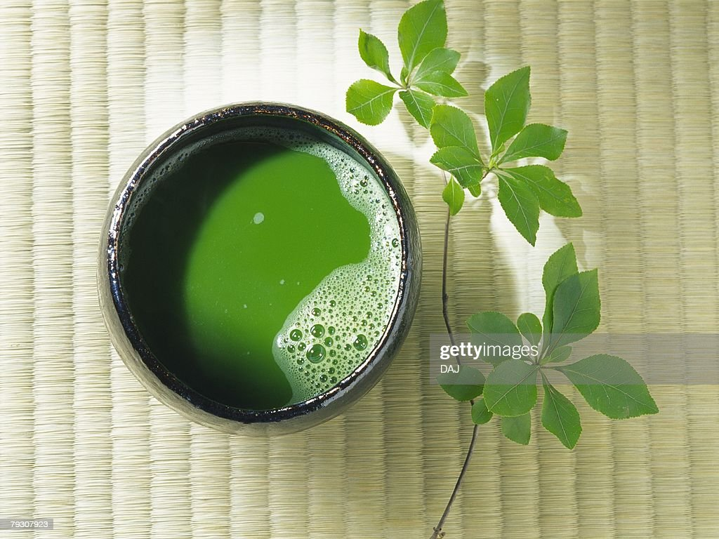 A cup of Japanese tea, Close Up, High Angle View : Stock Photo