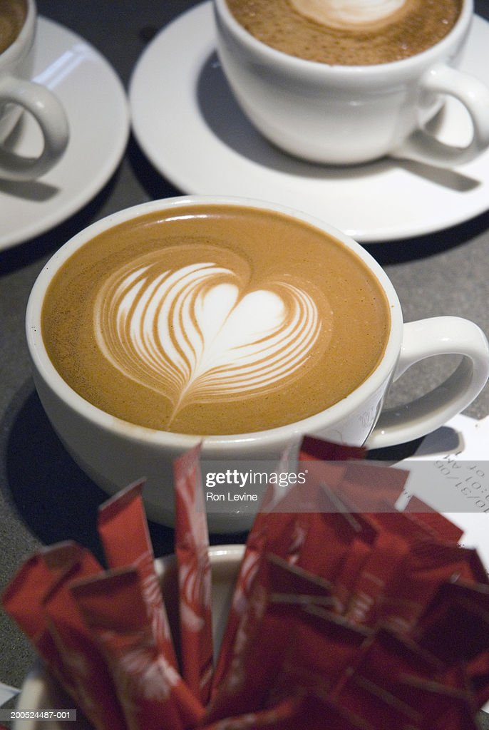 Cup Of Latte Coffee With Heart Design In Foam Stock Photo ...