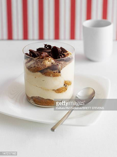 Cup of parfait with chocolate