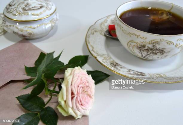 Cup of tea and flower