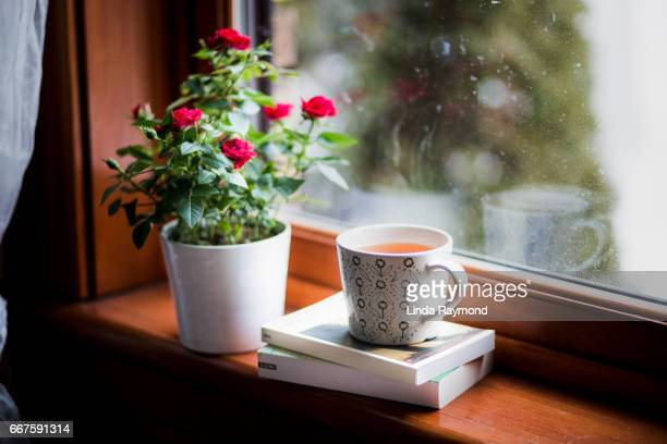 Cup of tea by a window