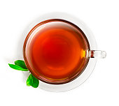 Cup of tea from above, isolated on white