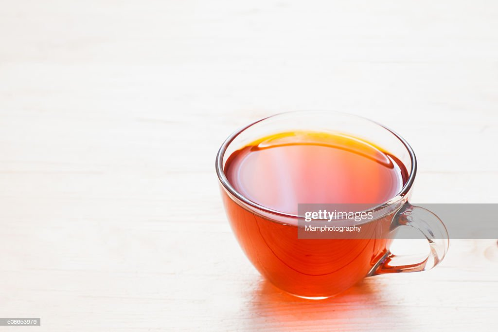 Cup of tea on white wooden background : Stock Photo