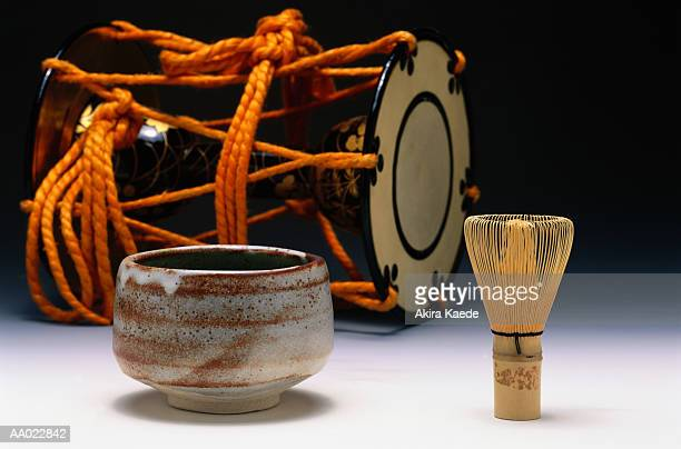 Cup of Tea, Teawhisk, and a Tsuzumi Drum