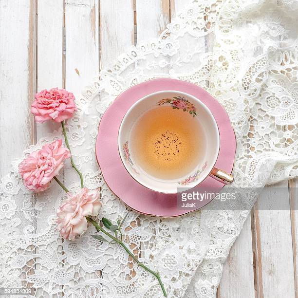 Cup of Tea with roses and lace