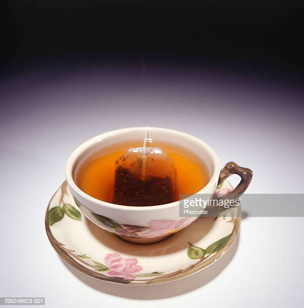 Cup of tea with tea bag, elevated view