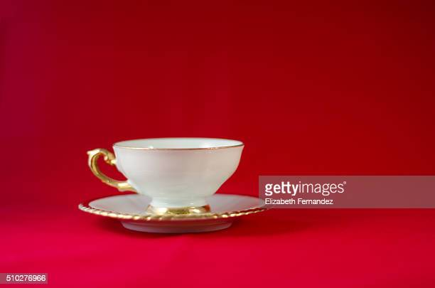 Cup on red background