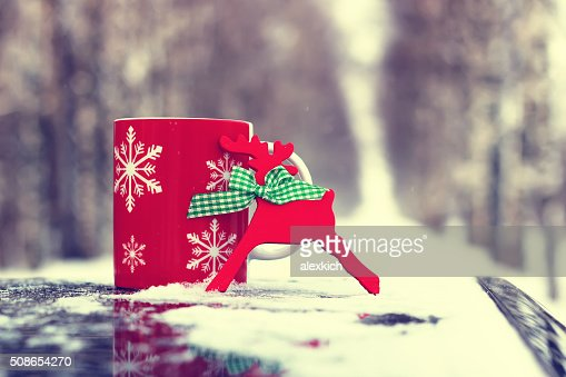 cup on winter street : Stock Photo