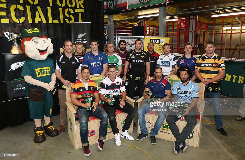 Cup provincial representatives pose for a group photo during the 2013 launch of the ITM Cup at Unitec on August 6, 2013 in Auckland, New Zealand.