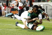 Cup Quarter Final match between South Africa and Argentinia Tshotsho Mbovane of South Africa in action during the Nelson Mandela Bay Sevens round...