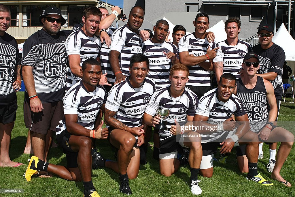 Cup winners Hawkes Bay pose for a team photo after the National Rugby Sevens final at the Queenstown Recreation Ground on January 13, 2013 in Queenstown, New Zealand.