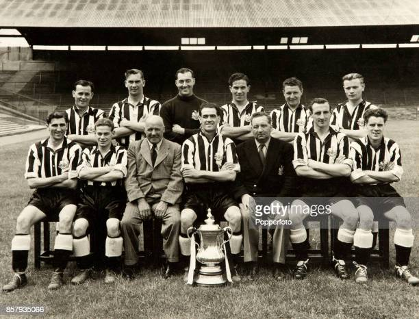 FA Cup winners Newcastle United pictured with the trophy at St James' Park in Newcastle circa August 1951 Newcastle who were captained by Joe Harvey...