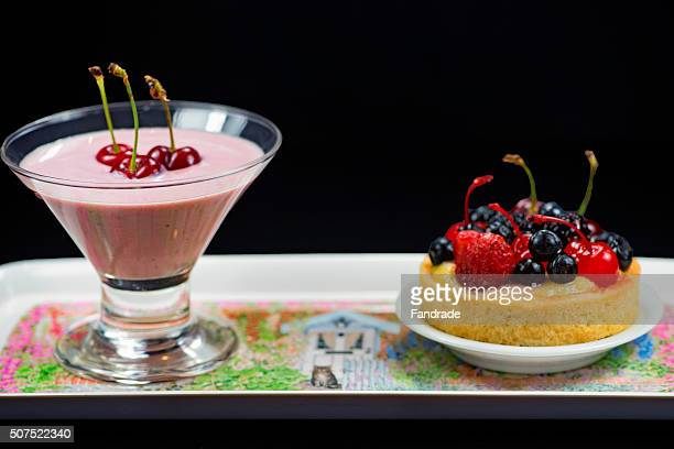 Cup with yogurt and strawberry tartlet fruit