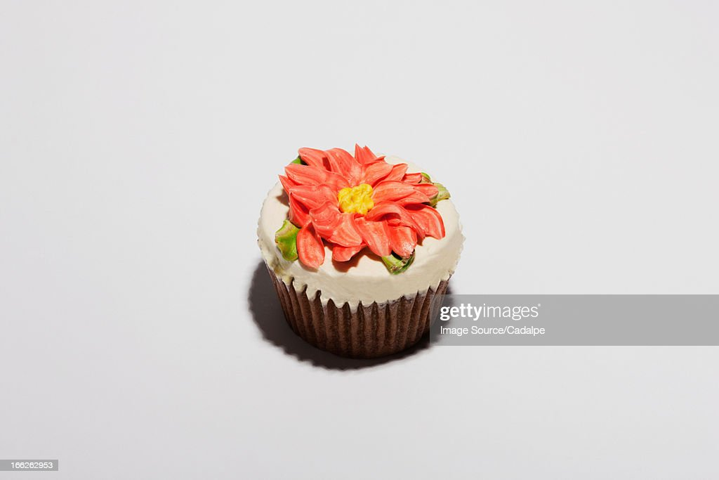 Cupcake decorated with flower : Photo