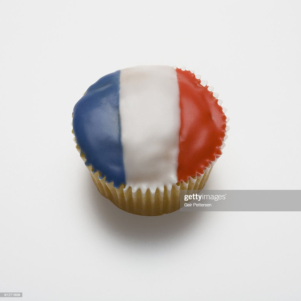 Cupcake decorated with the flag of France