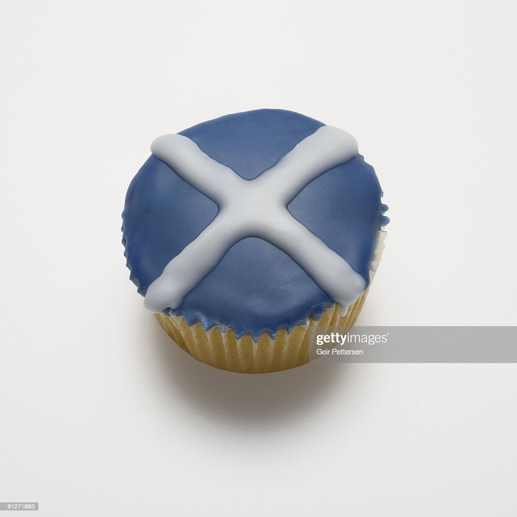 cupcake decorated with the flag of scotland stock photo getty images
