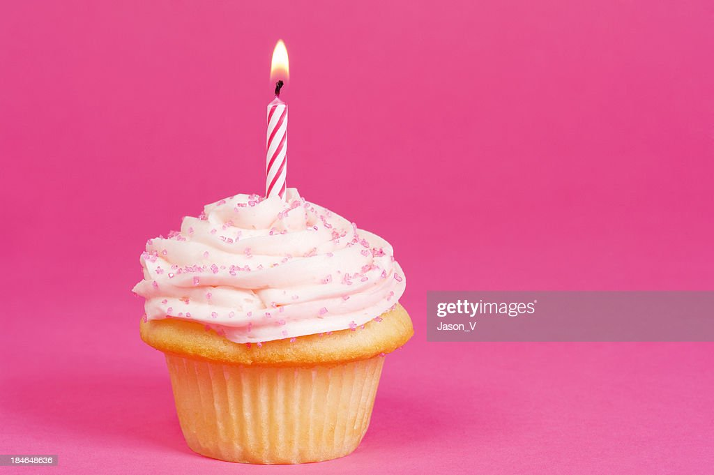 Cupcake on Pink background : Stock Photo