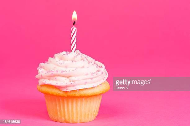 Cupcake su sfondo rosa