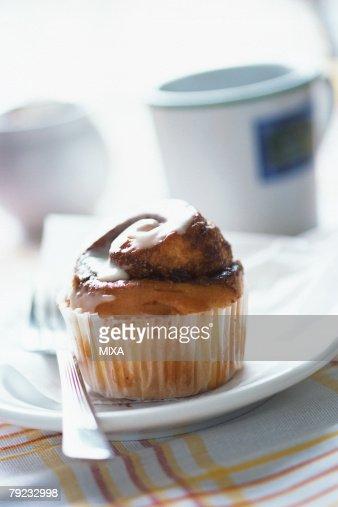 Cupcake on plate : Stock Photo