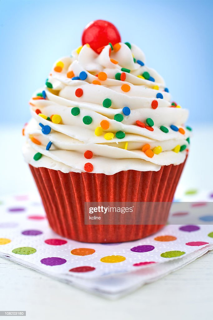 Cupcake on Polka Dot Napkin : Stock Photo