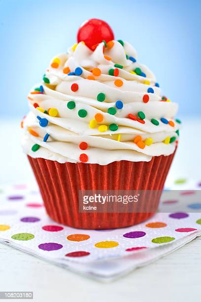 Cupcake on Polka Dot Napkin
