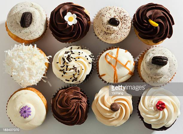 Cupcake Selection Variety with Fancy Gourmet Topping, Top Overhead View