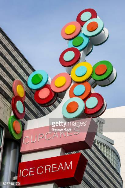A cupcake shop in The Linq Promendade shopping and entertainment mall near the High Roller is viewed on May 31 2017 in Las Vegas Nevada Tourism in...
