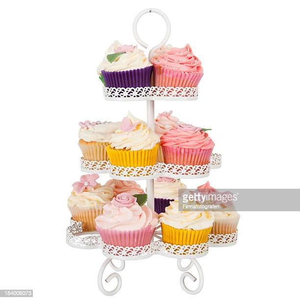Cupcake Stand With Frosting Isolated With Clipping Path