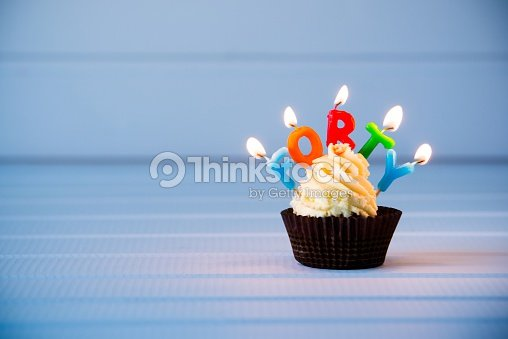 Cupcake With A Candles For 40