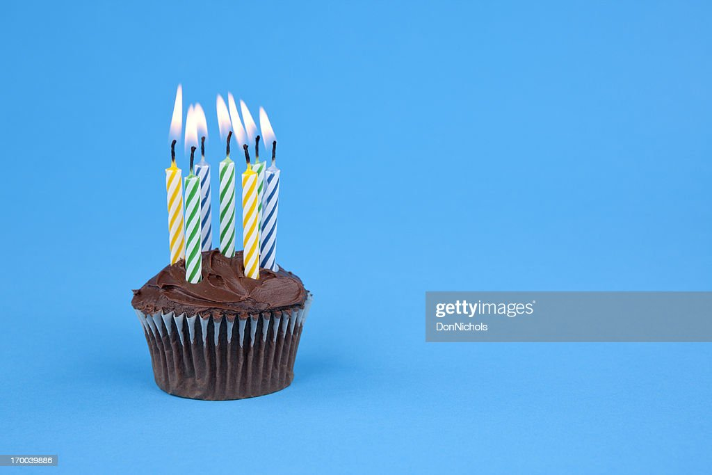 Cupcake with Candles : Stock Photo
