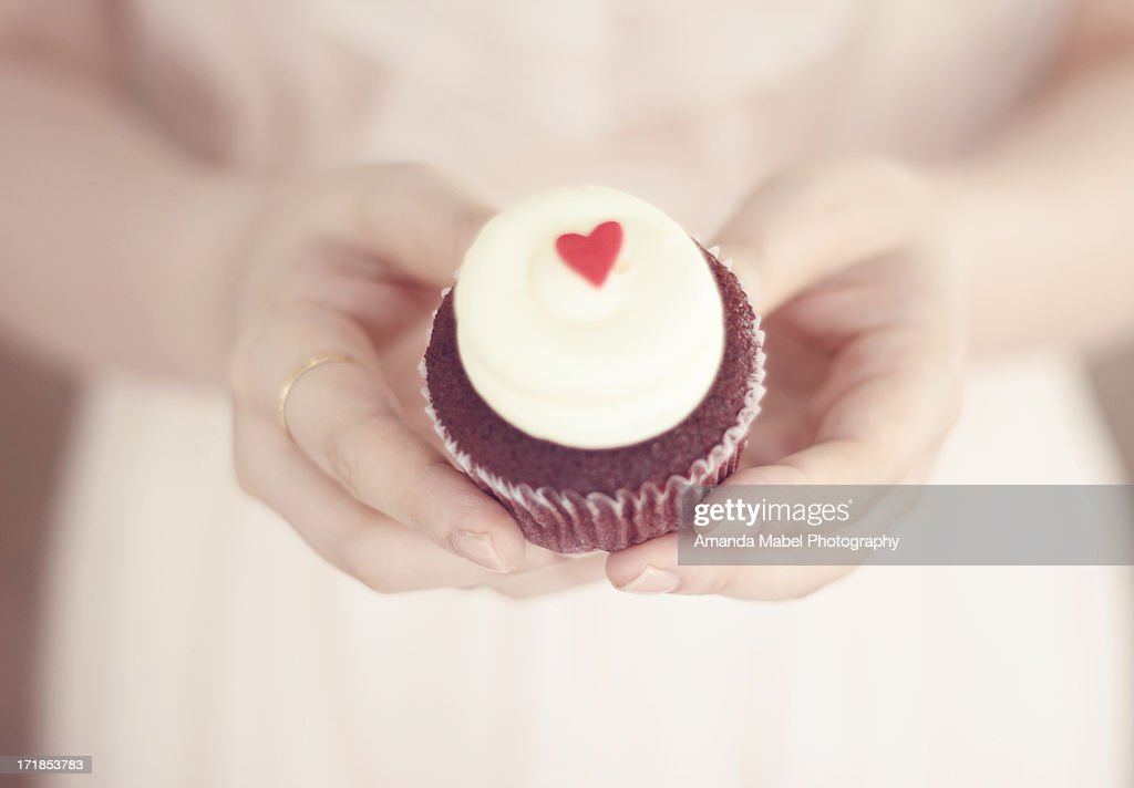 A cupcake with Love : Stock Photo
