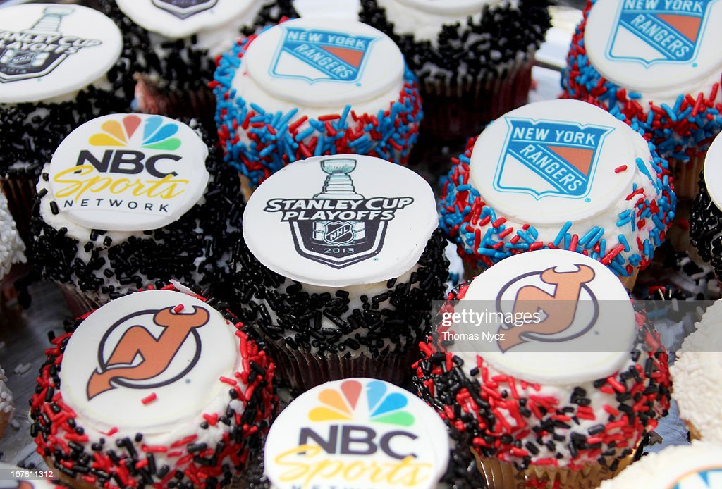Cupcakes are displayed at Madison Square Park to celebrate the start of the 2013 Stanley Cup Playoffs on April 30, 2013 in New York City. Former NHL Players handed out NHL and NBC Sports themed cupcakes to the public.