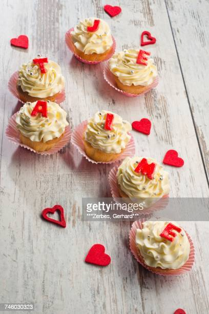 Cupcakes decorated with buttercream for Valentines Day